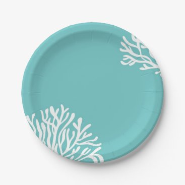 Beach Themed Aqua Coral Beach Paper Plate