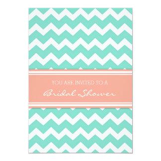 """Aqua Coral Chevron Bridal Shower Invitation Cards 5"""" X 7"""" Invitation Card"""