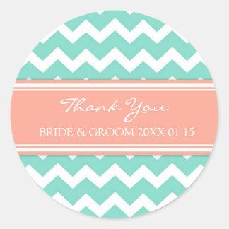 Aqua Coral Chevron Thank You Wedding Favor Tags Classic Round Sticker
