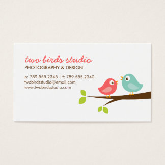 Aqua & Coral Cute Birds on a Branch Business Card