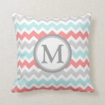 "Aqua Coral Grey Chevron Monogram Decorative Pillow<br><div class=""desc"">Elegant and modern peach,  turquoise light blue,  gray and white chevron zigzags stripes pattern custom monogram decorative throw pillow. Fully customizable,  add your own initial for a truly unique home decor item.</div>"