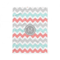 Aqua Coral Grey Chevron Pattern Monogram Blanket