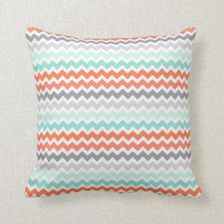Aqua Coral Grey Teal Chevron Decorative Pillow