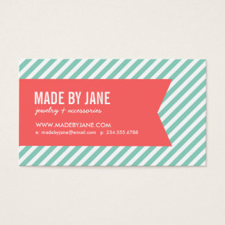 Aqua & Coral Modern Stripes & Ribbon Business Card