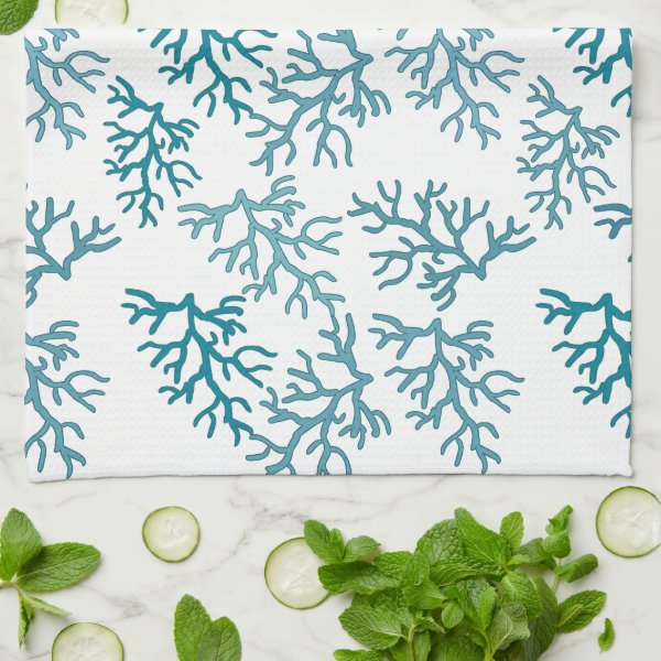 Aqua Coral Reef patterns Towel