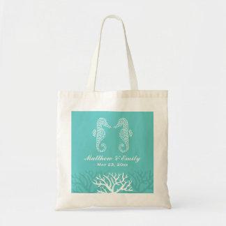 Aqua Coral Reef Seahorse Wedding Tote Bag
