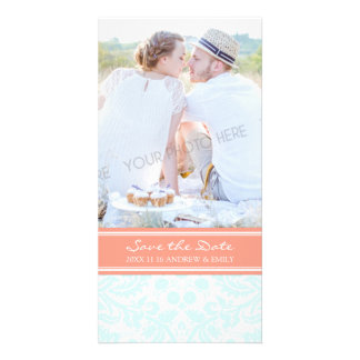 Aqua Coral Save the Date Wedding Photo Cards