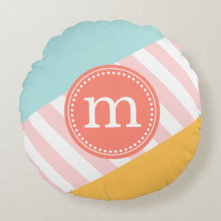 Aqua, Coral & Yellow Summer Personalized Monogram Round Pillow
