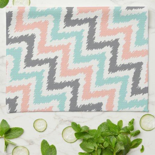 Aqua Coral Zigzag Ikat Pattern Kitchen Towel Zazzle