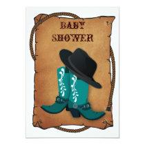 aqua cowboy boots western mommy baby shower card
