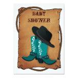 aqua cowboy boots western mommy baby shower custom announcement