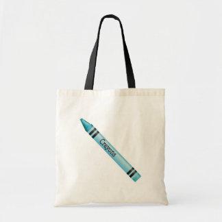 Aqua Crayon Canvas Bags