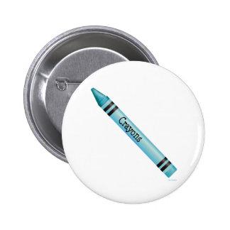 Aqua Crayon Pinback Button
