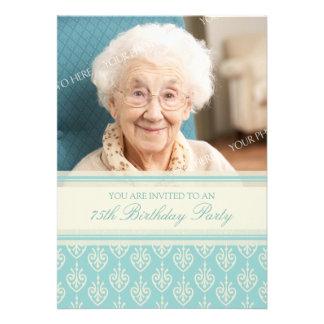 Aqua Cream Photo 75th Birthday Party Invitations