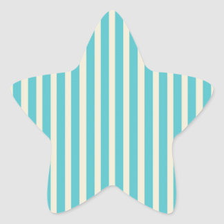 Aqua Cream Stripes Star Sticker
