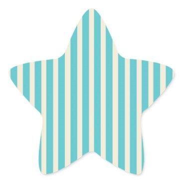 Beach Themed Aqua Cream Stripes Star Sticker