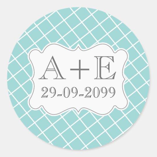 Aqua Cross Hatch Vintage Wedding Monogram Sticker