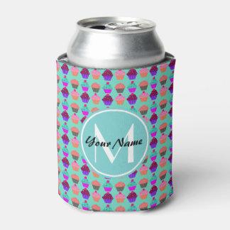 Aqua Cupcake Personalized Monogram Can Cooler