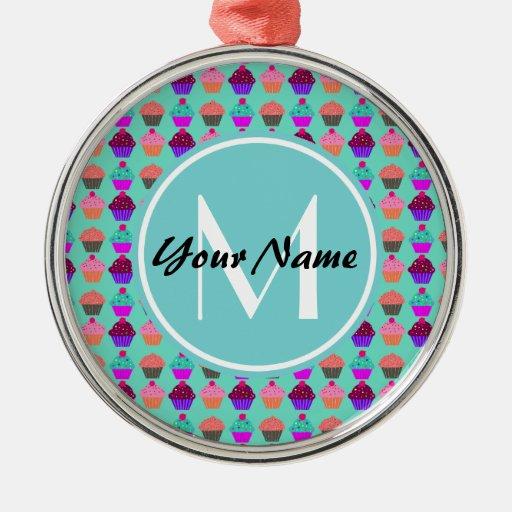 Aqua cupcake personalized monogram round metal christmas