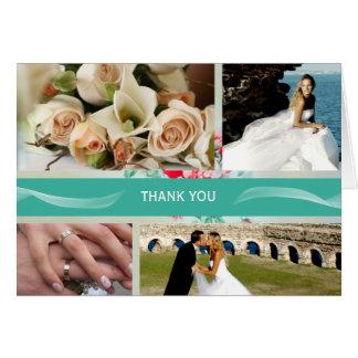 Aqua Custom 4 Photo Wedding Thank You Cards