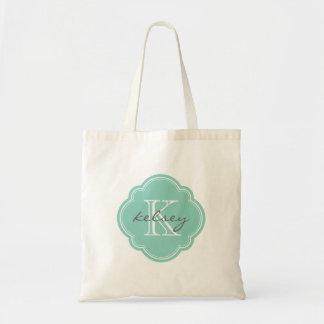 Aqua Custom Personalized Monogram Tote Bags