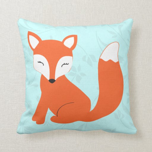 Cute Pillow : Aqua Cute baby fox pillow Zazzle