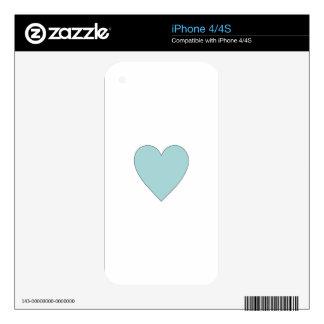 Aqua Cute Simple Heart iPhone 4 Decal