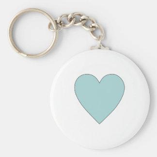 Aqua Cute Simple Heart Keychain