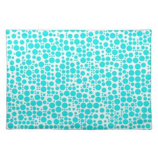 Aqua (Cyan) Polka Dots on White Background Cloth Place Mat