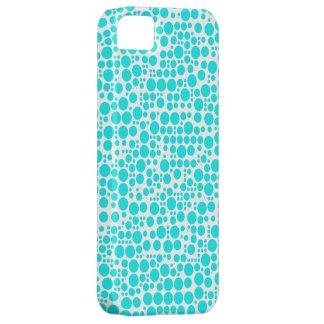 Aqua (Cyan) Polka Dots on White Background iPhone SE/5/5s Case