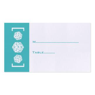 Aqua D20 Dice Gamer Wedding Place Card Business Cards