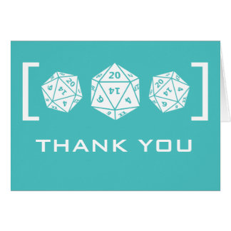 Aqua D20 Dice Gamer Wedding Thank You Card