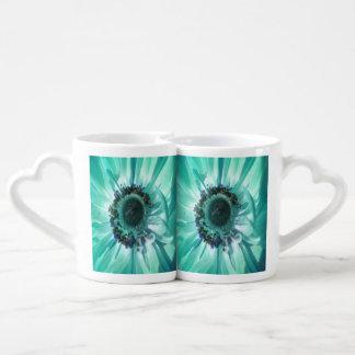 Aqua Daisy Duo Lovers Mug Set