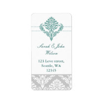 aqua damask address labels