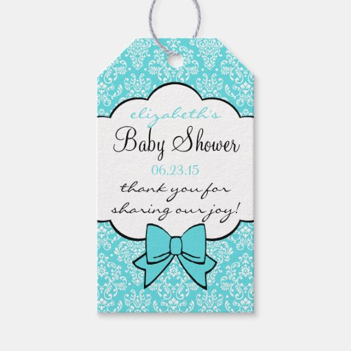 aqua damask baby shower guest favor thank you gift tags zazzle