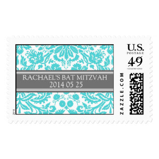 Aqua Damask Custom Name Bat Mitzvah Stamps
