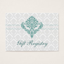 aqua  damask Gift registry  Cards