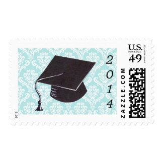 Aqua Damask Graduation Cap Stamp