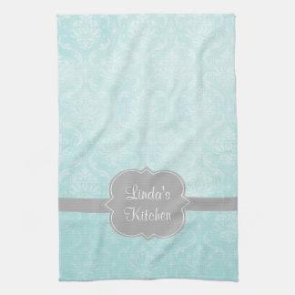 Aqua Damask Gray Personalized Kitchen Towel