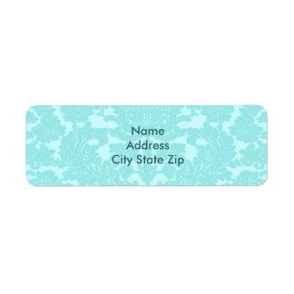 Aqua Damask Label