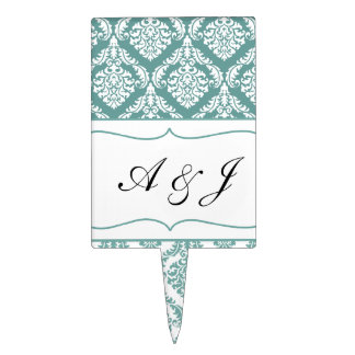 aqua damask  monogram cake picks