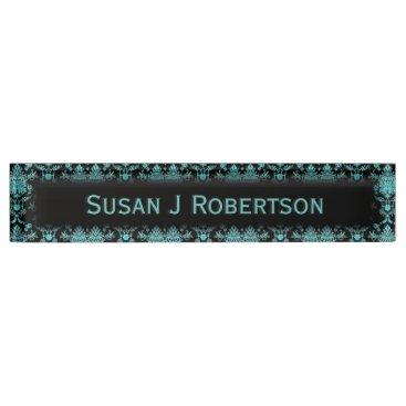 Professional Business Aqua Damask on Black Chic Design Desk Name Plate