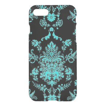 Aqua Damask on Black Chic Design iPhone 7 Case