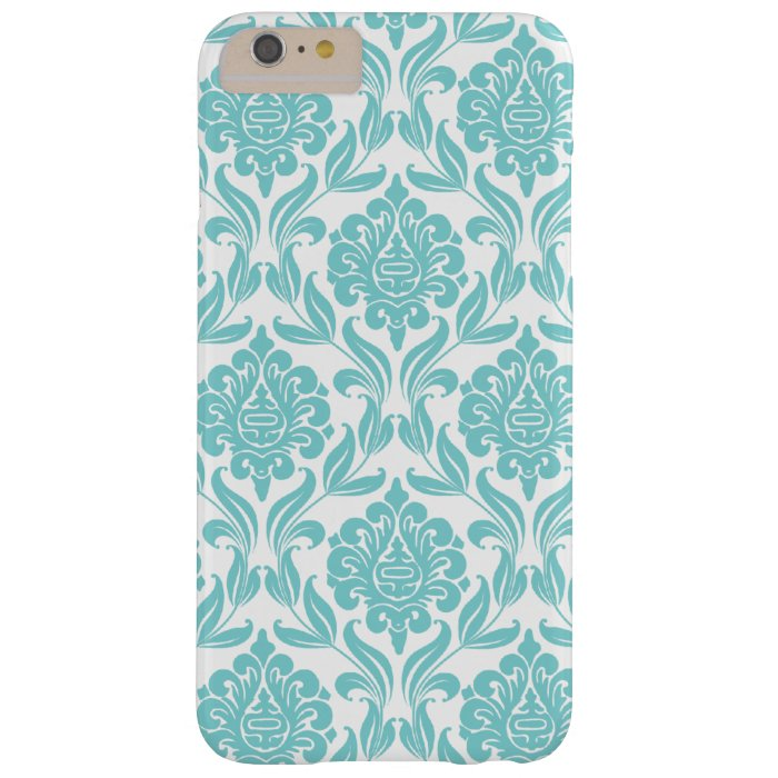 Aqua Damask Pattern Barely There iPhone 6 Plus Case