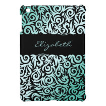 aqua damask pattern girly Ipad case