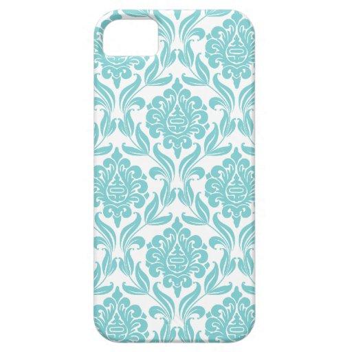 Aqua Damask Pattern iPhone 5 Cases