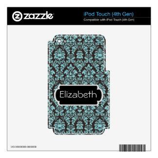 Aqua Damask Pattern Monogram MP3 Skin iPod Touch 4G Decal