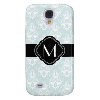 Aqua Damask Pattern with Monogram Samsung S4 Case