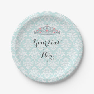 Aqua Damask Princess Tiara Customize Paper Plate