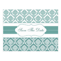 aqua damask save the date announcement postcard